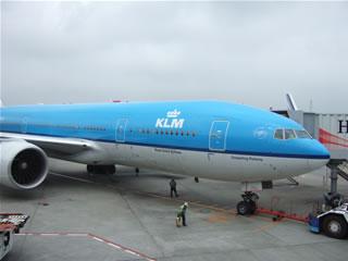 乗って行った飛行機。KLM航空